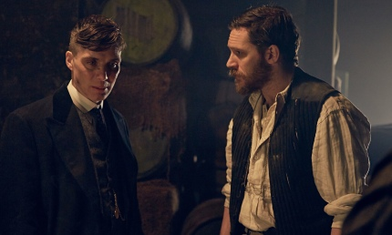 Cillian Murphy as Thomas Shelby and Tom Hardy as Alfie Solomons in Peaky Blinders. Photograph: Rober